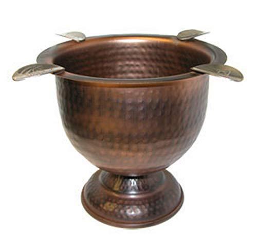 4 Stirrup Tall Stinky Cigar Ashtray, Deep Bowl Design, Antique Hammered Copper
