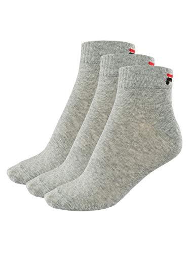 Fila 3 Paar Socken Quarter Sneakers Unisex 35-46 Trainer - mehrere Farben: Farbe: Grau | Größe: 43-46 (9-11 UK)