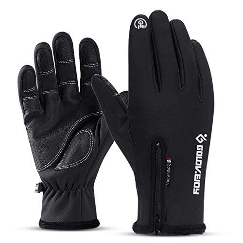 Guantes de invierno impermeables Unisex a prueba de frío de 5 tamaños, guantes cálidos de pelusa de ciclismo para pantalla táctil, clima frío, a prueba de viento, antideslizante-A1-L Refer Size Chart