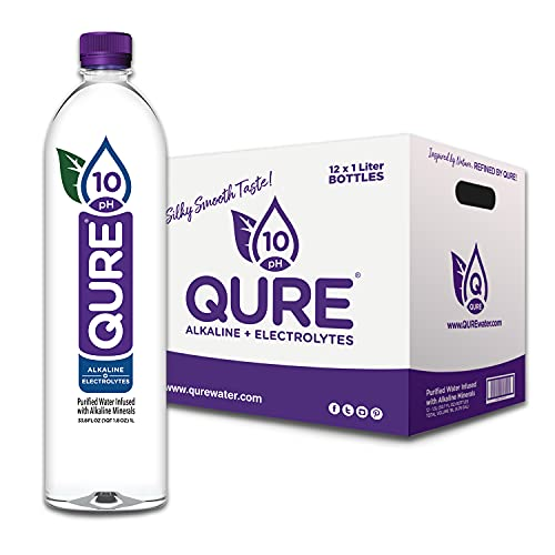 QURE Water, Premium 10 pH Ionized Alkaline Bottled Water, Silky Smooth Taste Infused with Electrolytes, 33.8 fl oz (1 Liter) Pack of 12