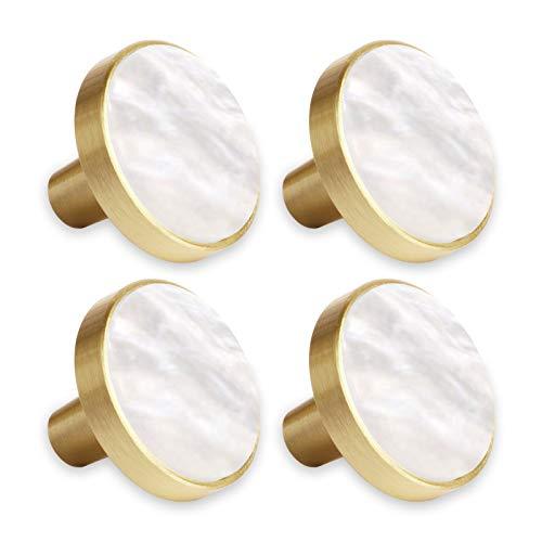 4 pomelli decorativi in ottone per cassetti, armadi, cassetti, cucina, 27 mm, effetto conchiglia (bianco madreperla)