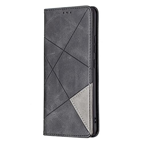 A74 - Custodia a portafoglio in pelle con chiusura magnetica invisibile e slot per tessere, per borsetta, a forma di diamante, colore: Nero