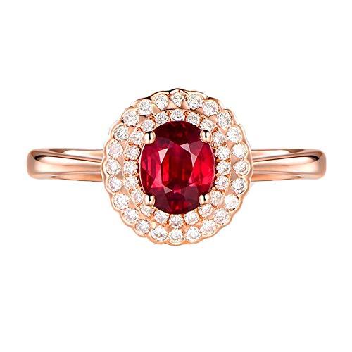 Beydodo Anillo Compromiso Oro Rosa 18K Mujer Oval Rubí Rojo 1.05ct Diamante 0.29ct Talla 8