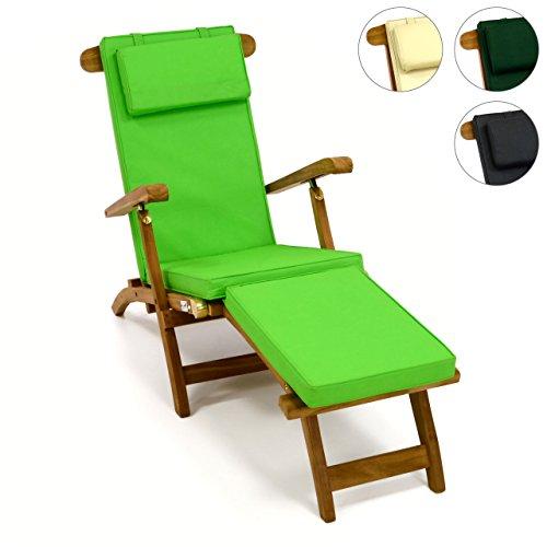 Divero Liegestuhl eleganter Deckchair Florentine Steamer Chair Teakholz Liegenauflage mit Kopfteil hellgrün mit 4 Segmenten wasserabweisend Bezug abnehmbar mit Reißverschluss