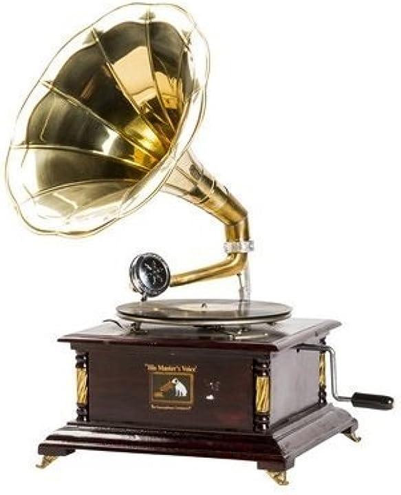 Grammofono con tromba in ottone his master`s voice riproduzione quadrato con inserti B07C1J6PYY