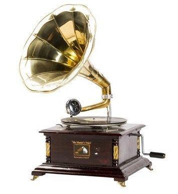 Grammofono con tromba in ottone HIS MASTER'S VOICE riproduzione quadrato con inserti