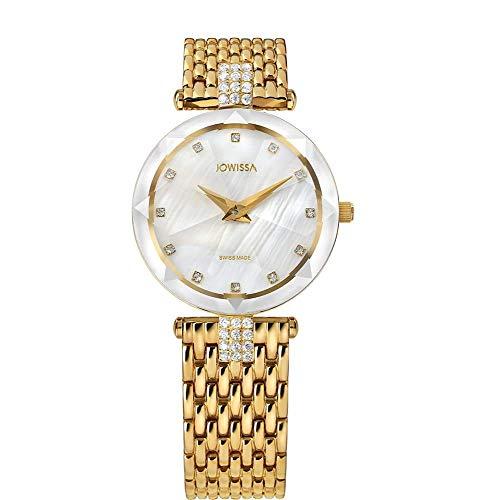 Jowissa Facet Strass Zwitserse Dames Horloge J5.633.M Wit/Goud