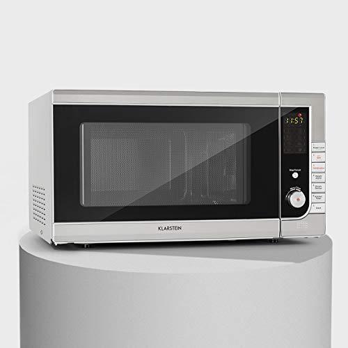 Klarstein CombiWave microondas - 1000 W, 43 l de capacidad, función parrilla, 11 niveles de potencia, pantalla LED, reloj digital de cocina, descongela, 8 programas, plato giratorio, acero inoxidable