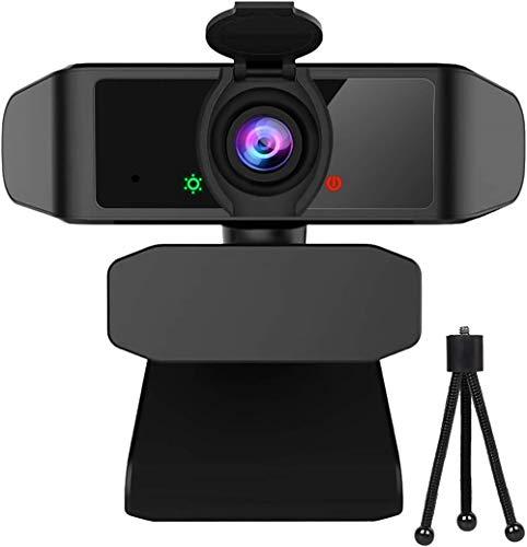 Webcam mit Objektivdeckel, Streaming Webkamera mit Autofokus/Stereo Mikrofon für Computer, Skype, Video Chat und Aufnahme, Schwarz by Uflatek