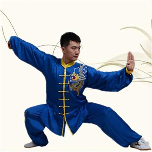 LINFENG Bordado Tai Chi Ropa Marcial Letras Práctica Ropa Manga Larga Mañana Ejercicios Tai Chi Chino Kung fu Espiga Traje Yoga Exterior (Color : Blue, Size : XXXX-Large)