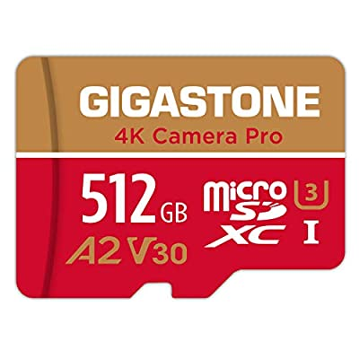 Gigastone 512GB Micro SD Card, 4K Video Recording, GoPro, Action Camera, Sports Camera, Nintendo Switch, R/W up to 100/80 MB/s, UHS-I A2 V30 Class 10