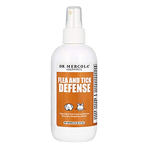 Dr. Mercola Flea and Tick Defense - 1 Spray Bottle (8 fl. oz.) - Natural Flea & Tick Control for Dogs & Cats – Healthy and Safe – Made with Essential Oils and Pure Water – Natural Flea Prevention