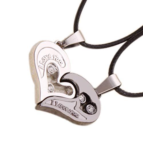 Qinghengyong Corazón Hueco Collar de Cristal 2pcs corazón del Collar del Mujeres Hombres La Mitad del corazón Cuello Cadena de la joyería de San Valentín