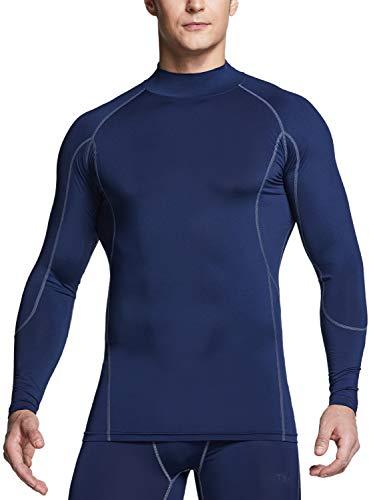 Camiseta masculina de compressão de manga comprida TSLA Cool Dry Fit Mock, camiseta de treino atlético, camada de base esportiva ativa, Active(mut32) - Navy, X-Small