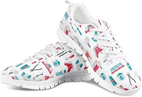 POLERO Herren Damen Laufschuhe Atmungsaktiv Turnschuhe Schnürer Sportschuhe Sneaker mit Cartoon Zähne Zahnpasta Zangen Reagenzglasbürste Print Weiß 38 EU