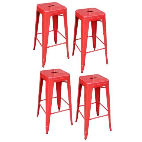 AmeriHome Metal Bar Stool Set, 30-Inch, Red, Set of 4