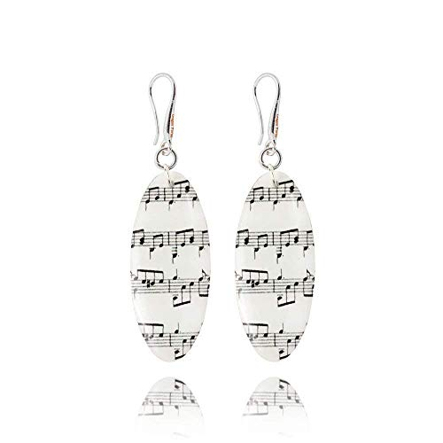 Pendientes de Notas Musicales Hechos a Mano en Blanco y Negro para Amantes de la Música de Dragon Porter