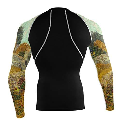 Fantazio Van Gogh Boerderij T-shirt à manches longues pour vélo de montagne et vélo de route - - M