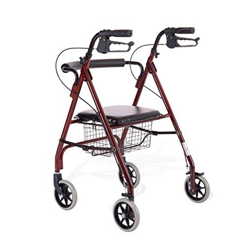 BZEI-WALKERS Rollator de aleación de Aluminio, Ligero Plegable Rollator 4 Ruedas Walker Aid con Asiento Acolchado, Frenos bloqueables y Cesta bajo Asiento, Altura Ajustable, Rojo