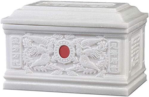 YACEKHDE Urnas Material de mármol para Mascotas Exquisita decoración en Relieve Utilizada para almacenar Cenizas humanas Mascotas Ataúd