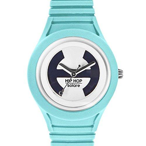 Hip Hop Watches - Orologio da Donna Azure HWU0535 - Collezione Solare - Cinturino in Silicone - Impermeabile 5 ATM - Cassa 34mm - Azzurro Celeste