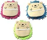 Microfiber Mitten Cute Hedgehog 6 1/2 x 6 1/2 Pink Green Blue (Set of 3)