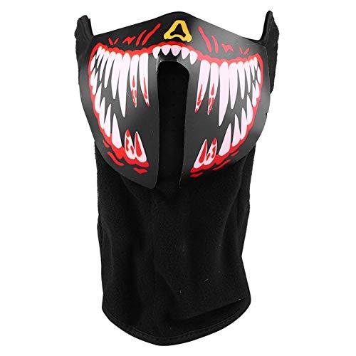 QiruIXinXi Máscara festiva, máscara LED de terror, máscara activada por voz, perfecta para fiestas de Halloween, cosplay, reuniones, vestidos o fiestas temáticas (rojo)