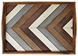 Decorative Vintage Wood Serving Tray For Coffee Table or Ottoman  Rustic Breakfast Tray  Perfect Trays For Kitchen, Dining Room, or Living Room  Farmhouse Platter w/Handles  Multi-Color