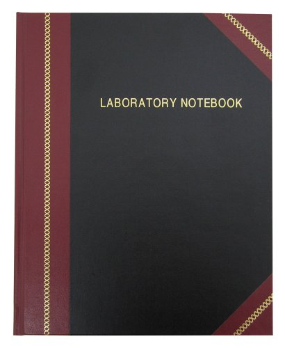 "BookFactory Lab Notebook/Laboratory Notebook - Professional Grade - 240 Pages 8"" x 10"" (Ruled Format) Cover is Black and Burgundy Imitation Leather Smyth Sewn Hardbound (LRU-240-SRS-A-LKMST1)"