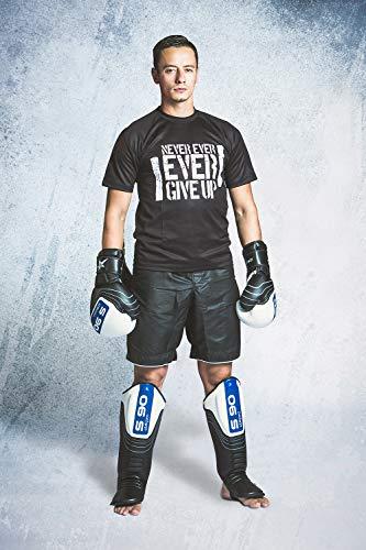 Starpro S90 Thai Schienbeinschoner mit Spann | Premium Rindsleder | Weiß & Schwarz | Bein- und Fußschutz für MMA Kickboxen Kampfkunst Muay Thai und Karate | Männer & Frauen