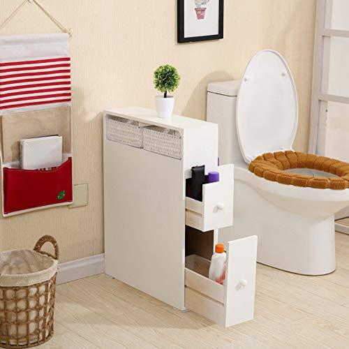 Bathroom Storage Cabinets with Wheel Small Space Wood Floor Bathroom Rolling Cabinet Freestanding Holder Organizer Bath Toilet Waterproof White White