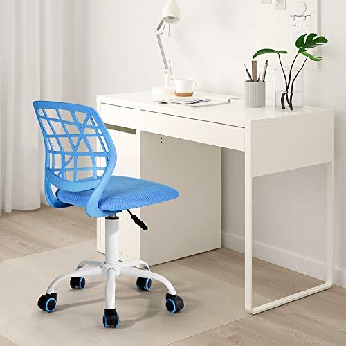 Silla de escritorio Fanilife, ajustable y giratoria sin brazos de diseño, para niños, silla para el ordenador, para los deberes, para estudiar, color negro