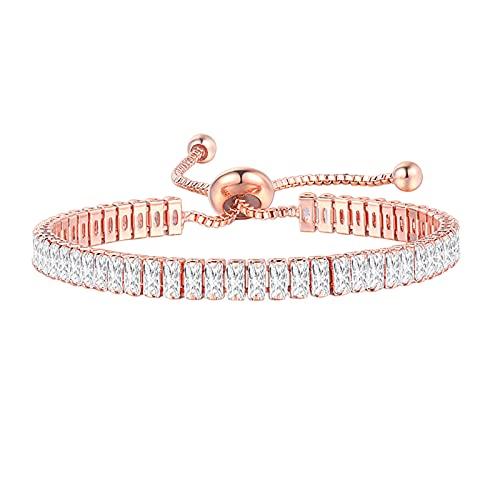 Bracelet for Women, Silver Tennis Bracelet Crystal Slider Bracelet Sparkle Diamond Adjustable Bracelet for Women,Gift for Mom,Mother Day, Anniversary Birthday Jewellery for Women (K, 14.5-11.7 '')