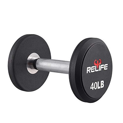 RELIFE REBUILD YOUR LIFE Juego de mancuernas de plástico PEV con extremo redondo y asas de metal para entrenamiento de fuerza, equipo de ejercicio en casa