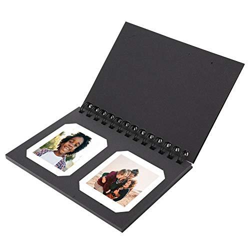 Zakfotoalbum, hoogwaardig papier Mini-fotoalbum Fotogeheugen Alubum voor 3-inch filmbeeld, voor 2 foto's per pagina, als decoratie, perfect cadeau voor familie of vrienden (zwart)