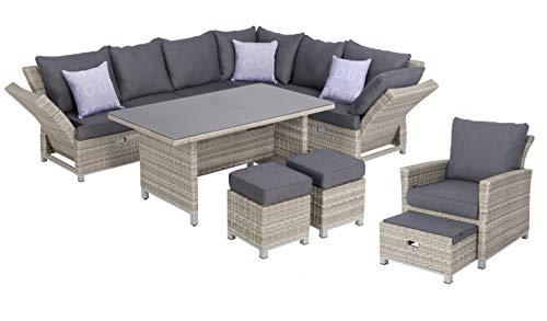 Mandalika Garden Hohe 3 in 1 Dining Poly Rattan Lounge Santa Cruz Deluxe XL, mit verstellbaren Armlehnen, flexibel einsetzbar