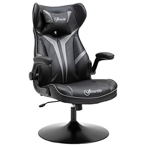 Vinsetto Gaming Stuhl Ergonomischer Computerstuhl mit Wippenfunktion Drehstuhl höhenverstellbar Stahl Schwarz+Grau 67 x 75 x 106-112 cm