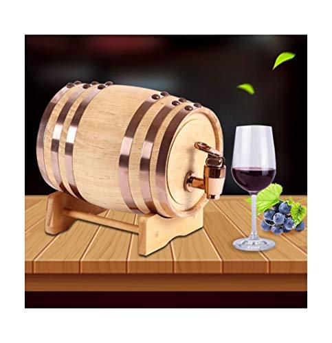 Botte di Rovere in legno di Vino Botte di quercia, 0.75 L / 3 L / 5 L / 10 L Botte di vino Rilievo incorporato del di alluminio, Adatto per vinificazione o per archiviazione Il tuo Whisky, Birra, Vino