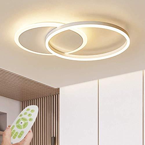 LED Plafonnier Moderne Dimmable Salon Lampe Anneau Designer Plafonnier Avec Télécommande De Mode Lampe De Plafond Minimaliste Métal Acrylique Éclairage Chambre Cuisine Salle À Manger Lumières