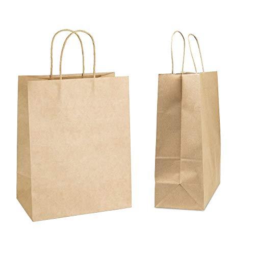 Bolsas de papel kraft marrón para comestibles (26,9 x 10,9 x 20,3 cm) 50 unidades, bolsas de fiesta, bolsas de regalo, bolsas de papel kraft para minoristas, bolsas de mercancía,...