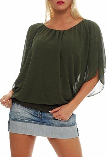 Damen Bluse im Fledermaus Look   Tunika mit Rundhals und breitem Bund   Blusenshirt Kurzarm   Elegant - Shirt 6296 (Oliv)