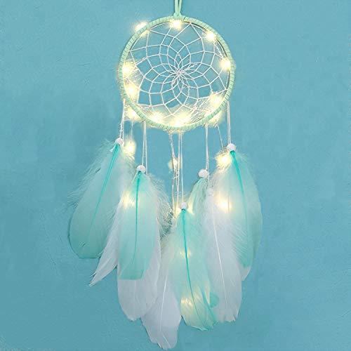 DWTECH Atrapasueños LED Dream Catcher, decoración iluminada, atrapasueños hechos a mano para dormitorio, decoración para colgar en la pared, adornos para manualidades, regalos de fiesta (verde)