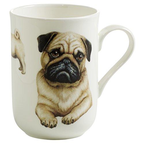 Maxwell & Williams Pets Mops Hund, Geschenkbox, Porzellan, PB0707 Becher, braun, weiß, 10.5 x 7.5 x 10.5 cm