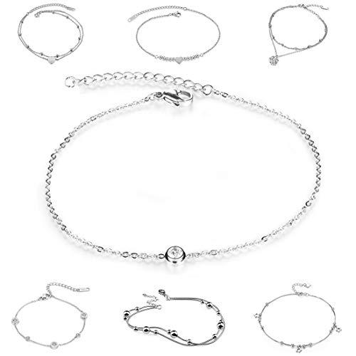 Kim Johanson Edelstahl Damen Fußkettchen *Verschiedene Modelle* in Silber mit einem starken Karabinerverschluss inkl. Schmuckbeutel (Love)