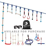 Ninja Warrior Obstacle Course for Kids 50' Slackline Kit, Jungle Gym Monkey Bars Kit for Kids and Adults + Climbing Rope, Warrior Training Equipment, Gymnastic Bar, Gym Rings, Rope Knot, Monkey Bars