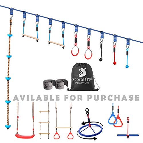 Ninja Warrior Obstacle Course for Kids 50' Slackline Kit, Jungle Gym Monkey Bars Kit for Kids and Adults, Kids Outdoor Play Equipment, Warrior Training Equipment, Playground Set for Backyard