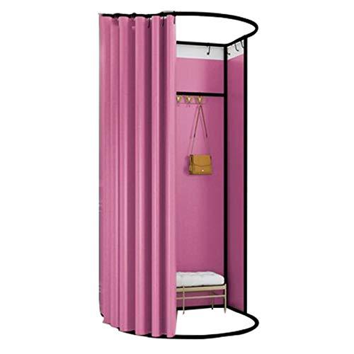 BAIYING Tienda De Ropa Sala De Montaje, Puede Moverse Firma Gran Espacio Tubo De Protección del Medio Ambiente Paño De Sombreado Sencillo Probador, 10 Colores (Color : Pink, Size : 85X80X200CM)