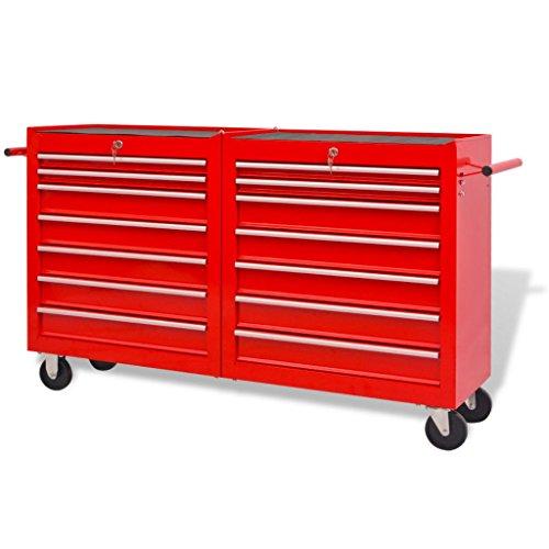 Chariot à outils pour atelier 14 tiroirs Taille XXL Acier et Rouge