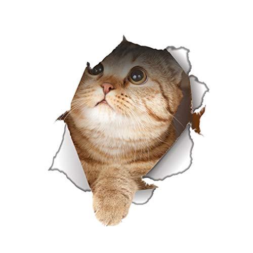 Pegatinas de Pared Perro de vinilo resistente al agua del gato 3D etiqueta de la pared del agujero Vista Cuarto de baño WC sala de estar Antecedentes decoración del hogar de la etiqueta del cartel par