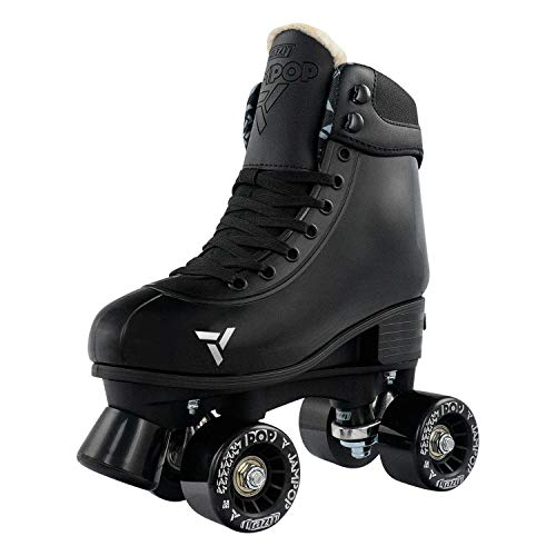 Crazy Skates Adjustable Roller Skates for Boys and Girls - Jam Pop Series - Black Small (Sizes jr12-2)